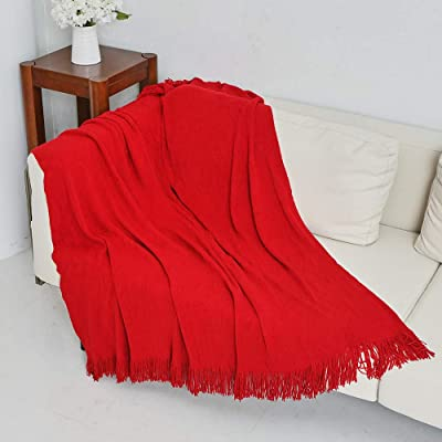 Wavy Pattern Knit Throw Blanket Tasseled Fringe Soft Warm for Bed Sofa Chair Red