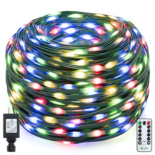Ollny Christmas String Lights 330ft 800 Led Super Long with Remote Outdoor IP67 Waterproof Multi-Colored 8 Twinkle Lighting Timer Modes Plug in for Outdoor Indoor Halloween Decorations