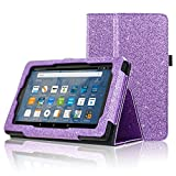 Fire 7 Tablet Case(Only Fit 5th Generation 2015 Release), ACdream Folio Stand Leather Tablet Case for Fire 7 Tablet (Old Model), (Glitter Purple)