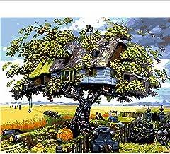Frameloze Schilderij door cijfers Verf op nummer voor Home Decor Pbn voor Woonkamer 40 * 50Cm Home On The Tree