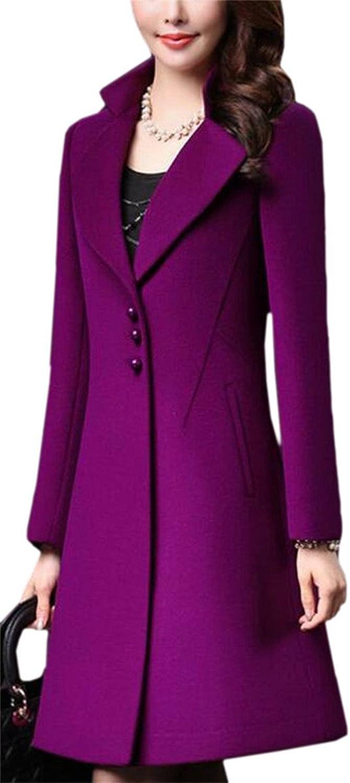 HTOOHTOOH Women's Elegant Slim Thick WoolBlend SingleBreasted Outerwear Pea Coat