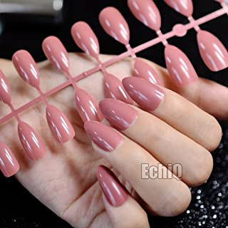 Meili False Nails Pointed Sharp Candy Red Fake Nails For Daily Wear On The Nail Tree 24Pcs Dusty cedar