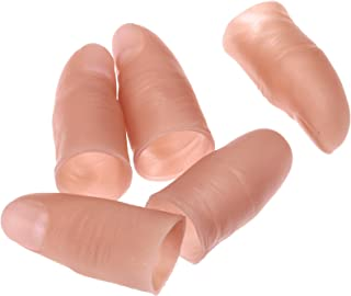 dophee Finger Magic Trick Fake Soft Thumb Tip Close Up Stage Show Prop Prank Toy (5Pcs)