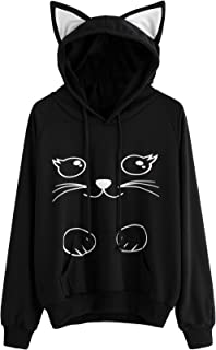 Women's Long Sleeve Kangaroo Pockets Slogan Letter Print Cute Cat Ear Pullover Hoodie