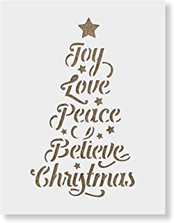 Christmas Tree Words Stencil - Durable Mylar Christmas Stencils Made in USA