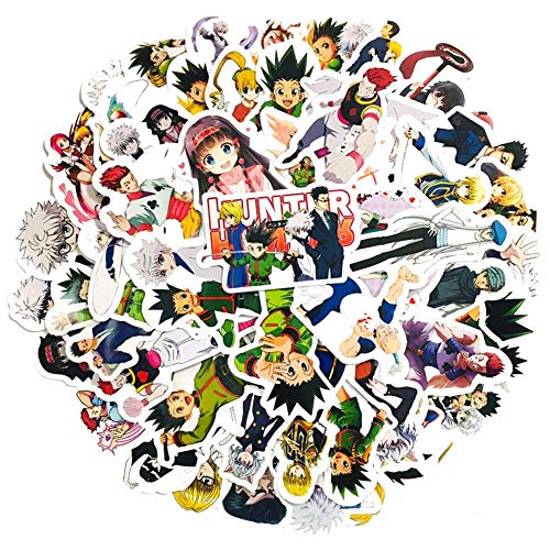 dili-bala 50 pegatinas japonesas de cazador de anime para ordenador portátil, dormitorio, armario, coche, monopatín, bicicleta, teléfono móvil, equipaje, guitarra (multicolor)