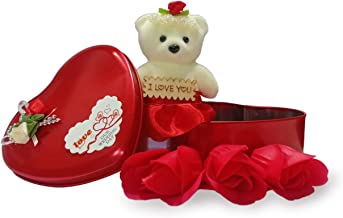 Collectible India Valentine Gifts For Girlfriend Combo - Valentine Gift For Boyfriend - Heart Shape Gift Box with Teddy & Rose - Valentines Day for Girlfriend, Girl, Boy, Friends, Wife, Fiance, Boyfriend, Husband - Best For Special Couples Lovers
