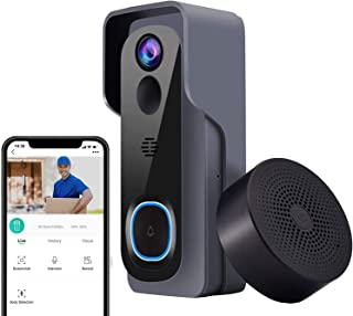 Video Doorbell with Indoor Chime【2021 Upgraded Version】, 1080P Wireless Doorbell Camera with PIR Motion Detection, Real-Ti...