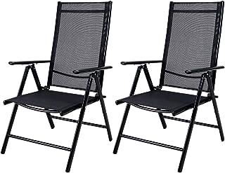 Casaria Set de 2 sillas Plegables con Respaldo Alto y Ajustable de Aluminio Resistente a la Intemperie jardín Exterior