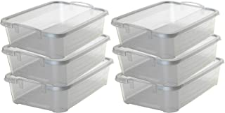 PM 6 Pack 34 Quart Clear Stackable Closet & Storage Box Containers