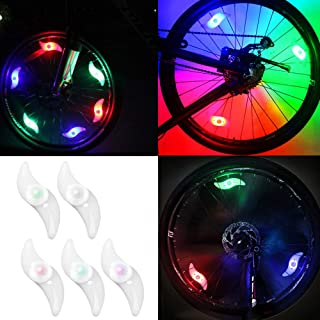 YuCool 10 Packs Bike Spoke Light, Colorful Bike Wheel Lights LED Bike Light with 10 Pcs CR2032 Batteries 10 Pcs Zip Ties for Bicycle Wheel Decoration-5 Colors