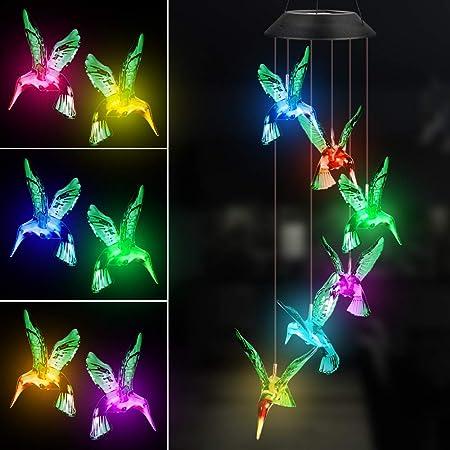KEMAGO Solar LED Mobile Windspiele Farbwechsel LED Mobile Libelle Windspiele H/ängende Terrasse Licht wasserdichte Solar Wind Chime f/ür Au/ßen Garten Gr/üner Kolibri