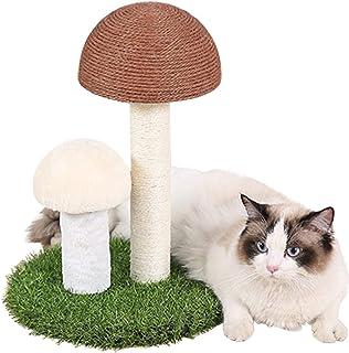 Bidason 爪とぎ 猫 きのこ形 小型 キャットタワー 猫タワー キャットポール 猫用 爪磨き つめとぎ おもちゃ 天然サイザル麻 組み立ても分解も簡単