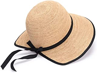 Asdfnfa Sun Hat Women's Straw Hat Summer UV Folding Beach Hat Big Hat Fishing Cap (Color : Beige)