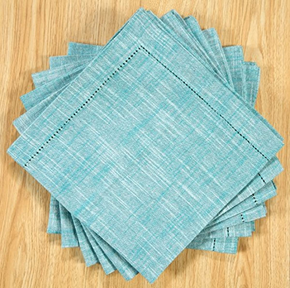 6Pack Slub Cotton Chambray Hemstitched Dinner Napkins-18x18- Teal White