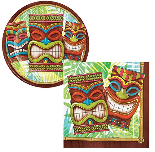 Tiki Time Luau Party Supply Pack. Bundle Includes Plates and Napkins for 50 Guests