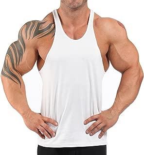 Men's Stringer Bodybuilding Gym Tank Tops Y Back Cotton 2 cm Shoulder Strap