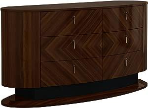 American Eagle Furniture DS-P109 Fernley Modern Wide 5-Drawer Bedroom Dresser, Dark Brown