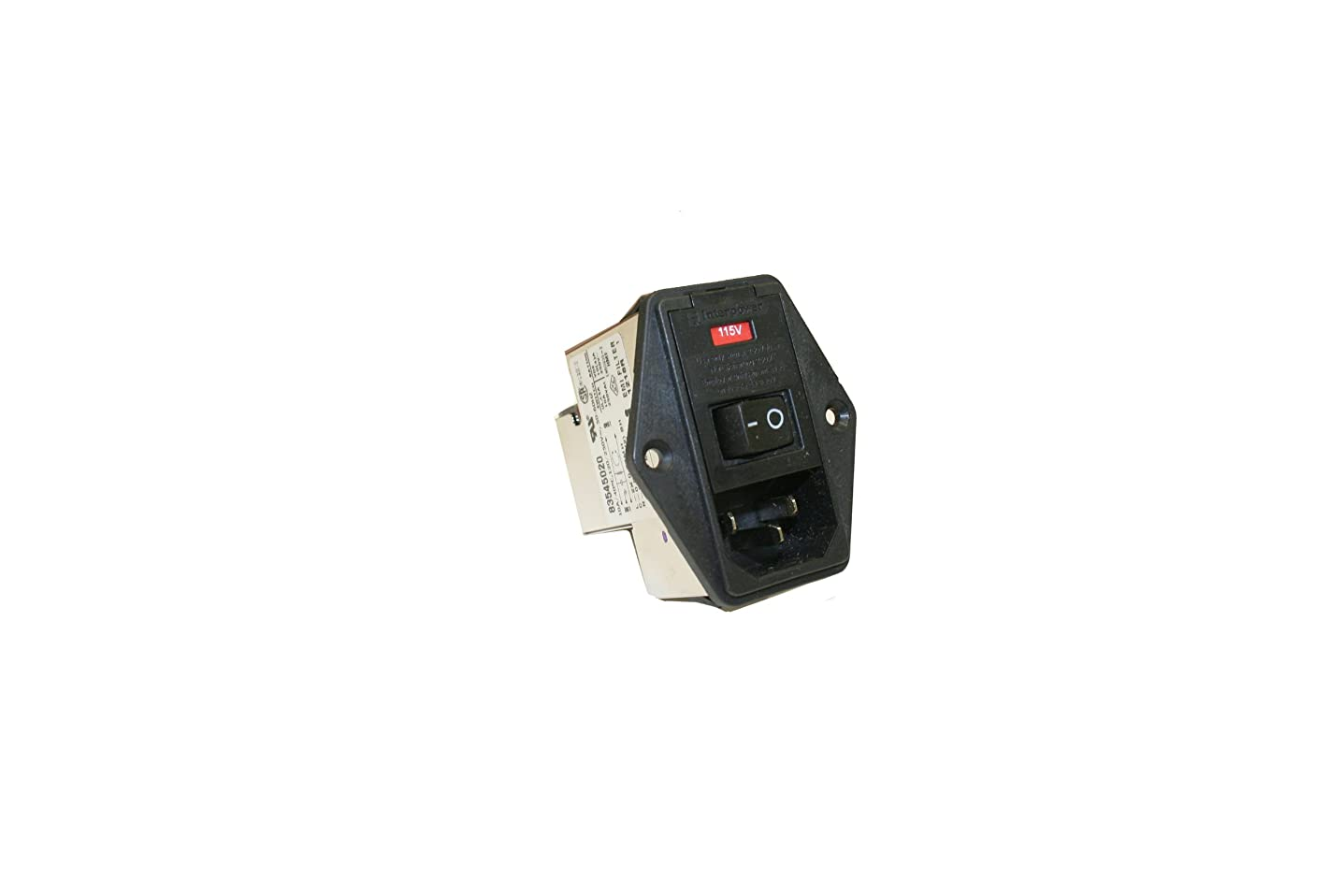 Interpower 83545020 Five Function Medical Grade Module, C14 Inlet, Switch, Double Fused, Voltage Selector, Filter, 10A Current Rating, 120/250VAC Voltage Rating
