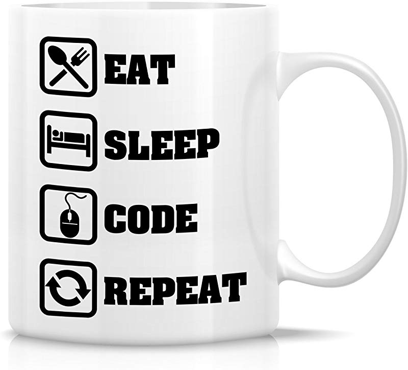 Retreez Funny Mug Eat Sleep Code Repeat Programmer Software Engineer 11 Oz Ceramic Coffee Mugs Funny Sarcasm Sarcastic Inspirational Birthday Gifts For Friends Coworkers Siblings Dad Mom