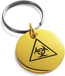 Stainless Steel Biohazard Triangle Symbol Small Medallion Circle Charm Keychain Keyring