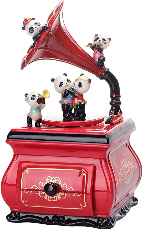 venta con descuento Zxb-shop Cajas Musicales Caja de música Panda Phonograph Caja Caja Caja de música Creativa Regalo Cumpleaños Día de San Valentín, Rojo  echa un vistazo a los más baratos