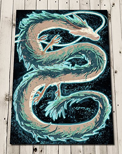 Amazon Com Haku Spirited Away Poster Print Dragon Art Painting Studio Ghibli Wall Art Home Decor Anime Handmade