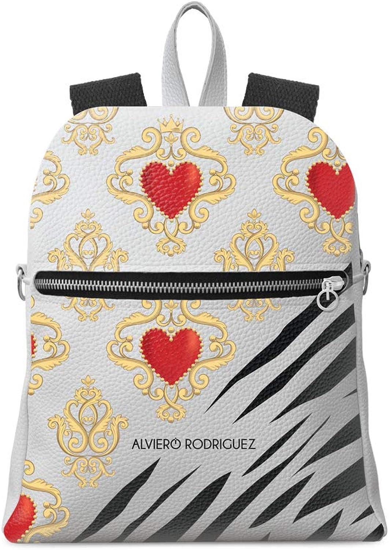 Alviero Rodriguez Rucksack Zip Wei Herren Royal Zebrine Natur Zebra aus Kunstleder