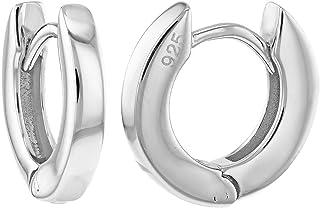 925 Sterling Silver Polish Huggie Lady Women's Hoop Earrings 0.39