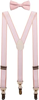 BODY STRENTH Mens Boys Suspenders and Bow Tie Set Y Shape Elastic