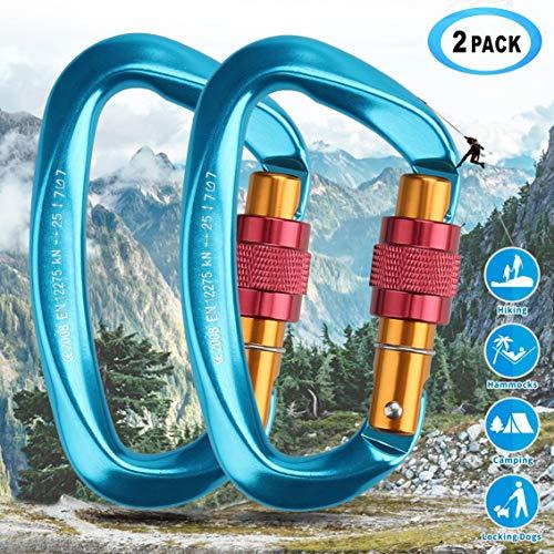 Idefair Carabiners Clip,2Pack 25KN Heavy Duty Twist Karabijnhaak met Schroefhek voor Outdoor Klimmen, Camping, Hangmatten, Hond Leash, Swing, Vissen, Waterfles, Sleutelhanger