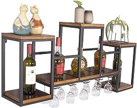 HTTJJ Wall-Mounted Metal Wine Rack, Wall Bottles & Glass Holder, Home & Kitchen Decor Rack Previous Organizer Hanging Bott...