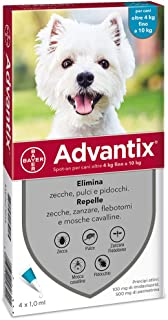 Advantix Spot-on per Cani dai 4Kg ai 10Kg - 4 pipette da 1ml
