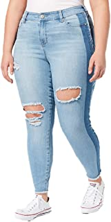 Celebrity Pink $64 Womens New 1361 Light Blue Ripped Two Tone Jeans 18 Plus B+B