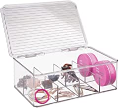 mDesign Hair Care and Accessories, Storage Organizer Box for Bathroom Vanity to Hold Clips, Hot Rollers, Headbands, Elastics, Bobby Pins - 8 Sections, Clear