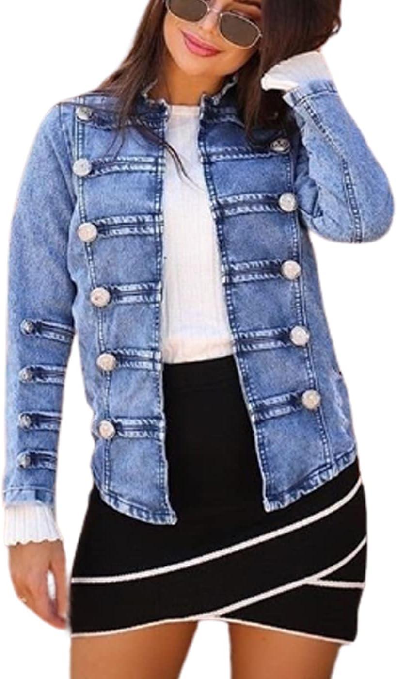 WanXingLiHe Women's Casual Denim Jacket Long Sleeve Slim Button Down Jean Jackets Coat Blue Outwear,Light Blue,3XL