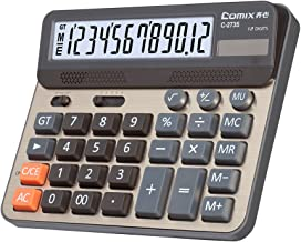 Comix Desktop Calculator, Large Computer Keys 12 Digits LCD Display Calculating Machine for Office School Home, Champaign Gold Color Panel, C-2735