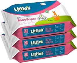 Little's Soft Cleansing Baby Wipes with Aloe Vera, Jojoba Oil and Vitamin E (80 Wipes) Pack of 3