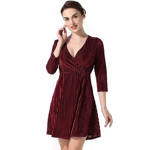 Goede Long Sleeve Red Velvet Dresses: Amazon.com OK-57