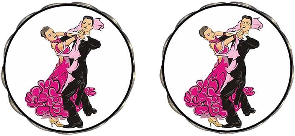 GiftJewelryShop Bronze Retro Style Dance themes Latin Dancer Photo Clip On Earrings Flower Earrings #12