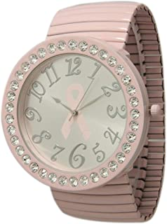 Breast Cancer Stretch Band Watch with Crystal Stone Around