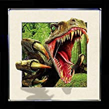 5D / 3D + Lenticular Framed 3d Picture Poster Artwork Wall Decor Holographic Pics Optical Illusion Animated Image on Canvas (With Black Frame) (Raptor)
