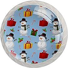 Paddestoel Kabinet Knoppen Kerst Sneeuwpop Patroon Leuke Keuken Kast Handvatten, Kristal Glas Kast Knoppen 1.37 Inch Lade ...
