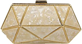 Ladies Evening Bag Acrylic Geometric Marble Mosaic Banquet Party Wedding Dress Clutch Chain Shoulder Diagonal Cross Wallet Ms. Size: 20 * 6 * 10cm Fashion (Color : Gold)