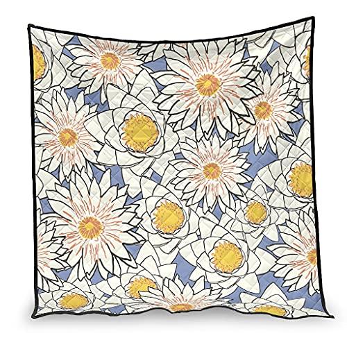 OwlOwlfan Daisy Flowers Super Soft Lightweigt Hypoallergenic Summer Duvet Travel Blanket for Winter Additional Warmth white 100x150cm