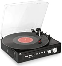 1byone Belt Drive 3 Speed Mini Stereo Turntable with Built in Speakers, Supports Vinyl to MP3 Recording, USB MP3 Playback, Stereo Headphone Jack, Pitch Control and RCA Output, Black