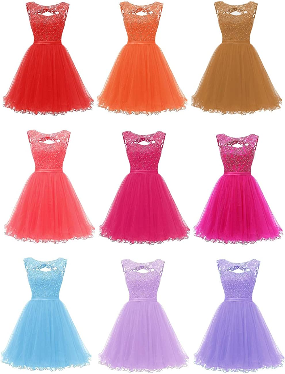 Promworld Women's Lace Appliques Open Back Sequins Homecoming Dresses Short A-line Graduation Party Cocktail Gowns