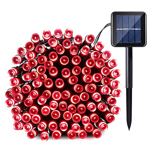 Qedertek Solar String Light, 39ft 100 LED 8 Modes Light Sensor Control Waterproof Decorative Ambiance Light for Patio, Lawn, Garden, Fence, Balcony, Party, Holiday, Christmas Decorations(Red)