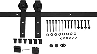 AmazonBasics Sliding Barn Door Hardware Kit, 8 Foot, J Shape, Black