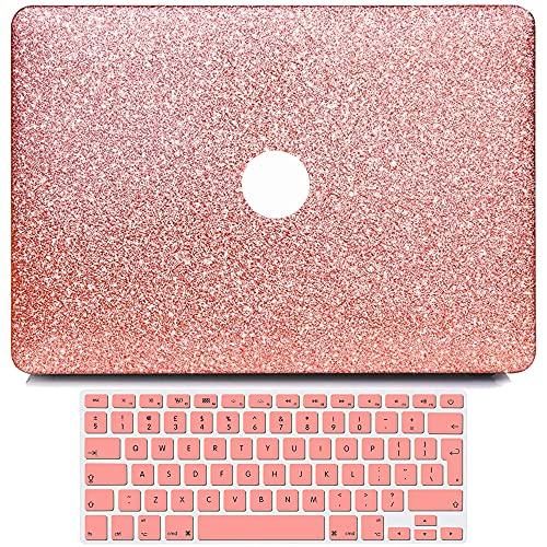 BELK Funda Dura Compatible con MacBook Pro 15 Pulgadas 2019 2018 2017 2016 con Touch Bar Modelo A1990 A1707, Liso Glitter Bling Plástico Dura Carcasa con Cubierta de Teclado, Oro Rosa